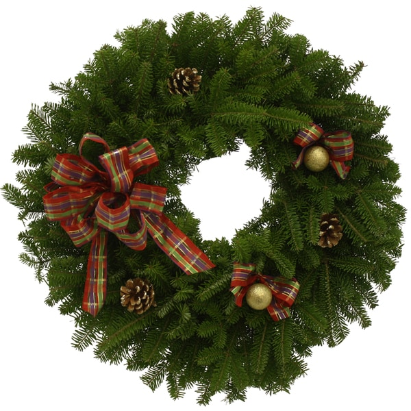 Jeweled Ribbon 24-inch Maine Balsam Holiday Wreath