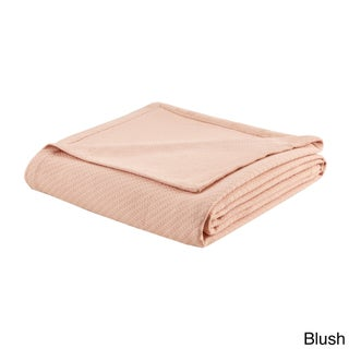 Madison Park Liquid Solid Colored Woven Cotton Blanket (Option: Twin - Blush)