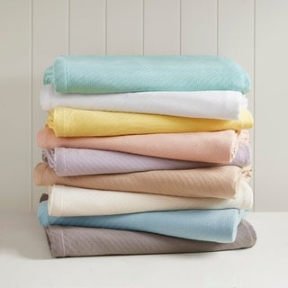 Madison Park Liquid Solid Colored Woven Cotton Blanket (More options available)