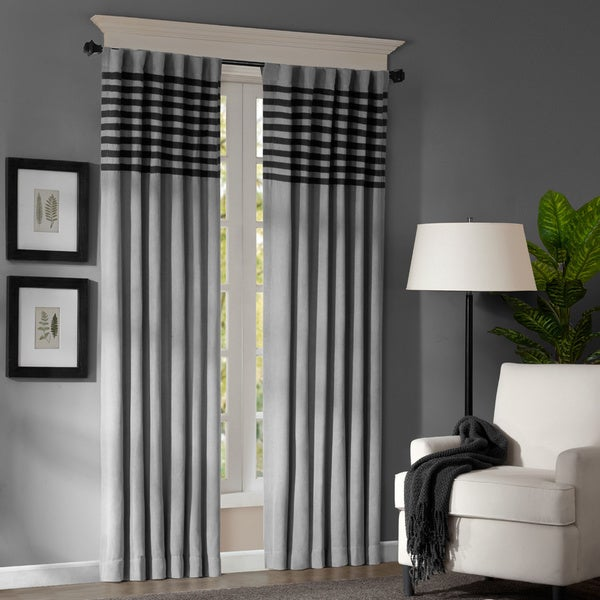 Madison Park Canyon Grey/ Black Window Curtain Panel Pair