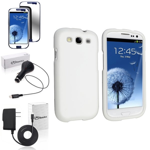 INSTEN Rubber Snap-On Case Cover/ Anti-scratch Screen Protector/ Chargers for Samsung Galaxy S3