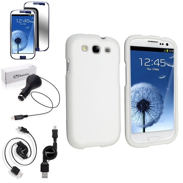 BasAcc Rubber Snap-On Case/Screen Protector/Charger for Samsung Galaxy S3