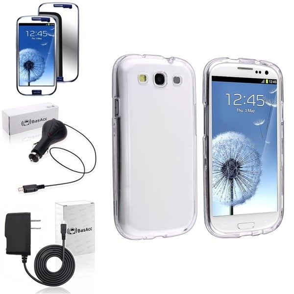 INSTEN Hard Crystal Phone Case Cover/ Screen Protector/ Chargers for Samsung Galaxy S3
