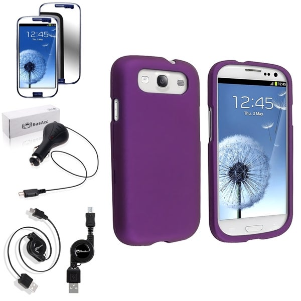 BasAcc Snap-On Purple Rubber Case/Screen Protector/Charger for Samsung Galaxy S3