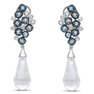 Miadora Signature Collection 14k White Gold Blue and White Topaz Dangle Earrings