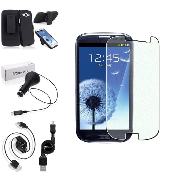 INSTEN Black Phone Case Cover with Stand/ Screen Protector/ Charger for Samsung Galaxy S3