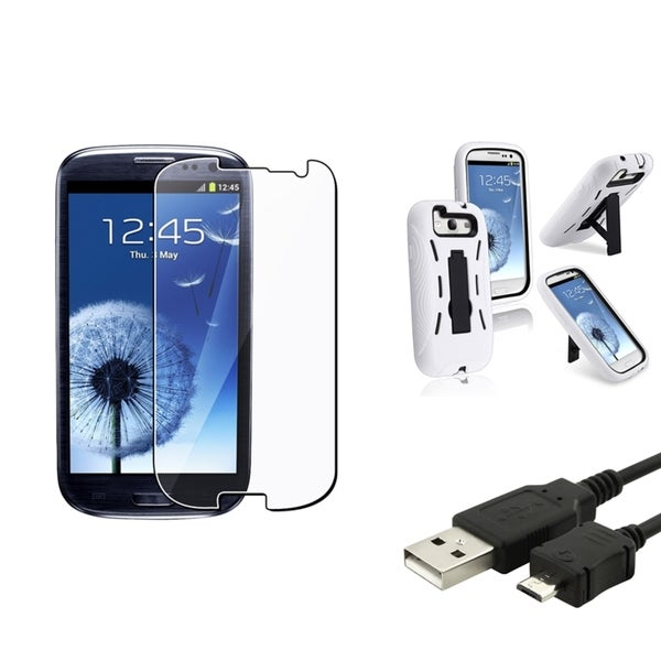 BasAcc Hybrid Cover/ USB Cable/ Protector for Samsung Galaxy S III/ S3