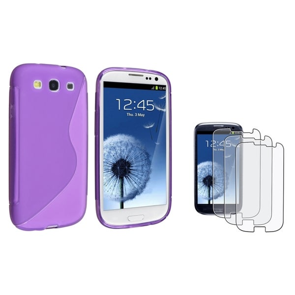 BasAcc TPU Case/Anti-Glare LCD Protector for Samsung Galaxy S III/S3 (Purple)