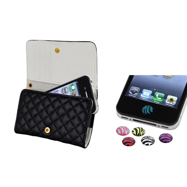 INSTEN Protective Leather Wallet Phone Case Cover/ HOME Button Sticker for Apple iPhone 4/ 4S