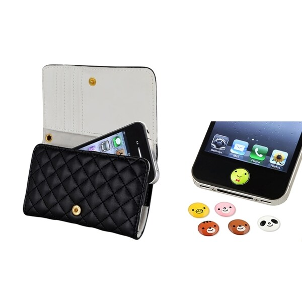 INSTEN Leather Wallet Phone Case Cover/ HOME Button Sticker for Apple iPhone 4/ 4S
