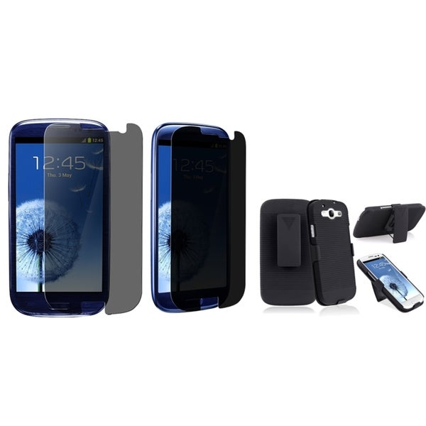 INSTEN Phone Case Cover With Holster/ Privacy Protector Phone Case Cover for Samsung Galaxy S III/ S3
