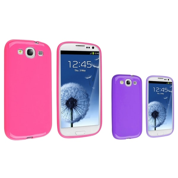 INSTEN Purple TPU Phone Case Cover/ Hot Pink TPU Phone Case Cover for Samsung Galaxy S III/ S3
