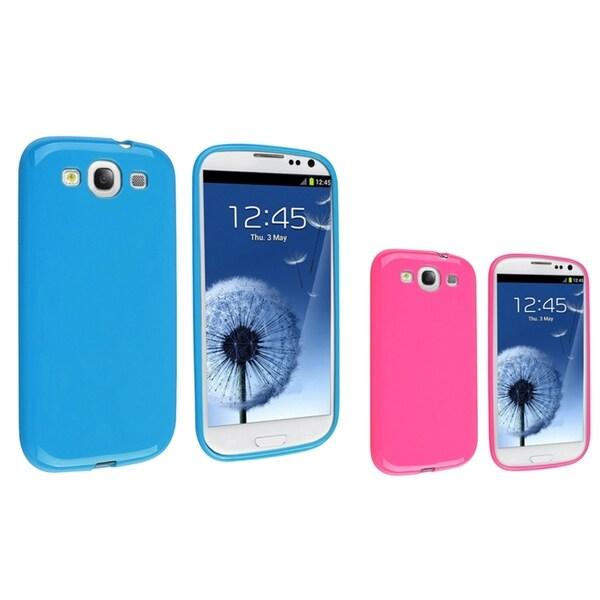 INSTEN Blue TPU Phone Case Cover/ Hot Pink TPU Phone Case Cover for Samsung Galaxy S III/ S3