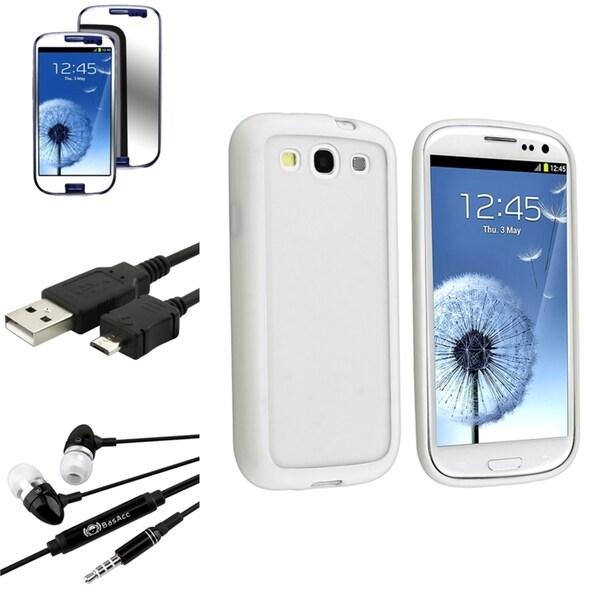 White TPU BasAcc Case/Screen Protector/Headset for Samsung Galaxy S3