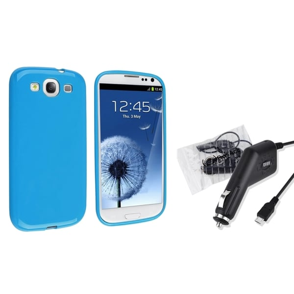 INSTEN Blue Jelly TPU Phone Case Cover/ Car Charger for Samsung Galaxy S III/ S3