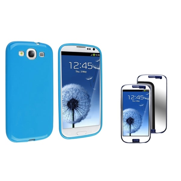INSTEN TPU Phone Case Cover/ Mirror LCD Protector for Samsung Galaxy S III/ S3