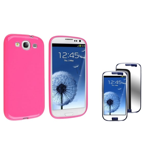 INSTEN Phone Case Cover/ Mirror LCD Protector for Samsung Galaxy S III/ S3 i747