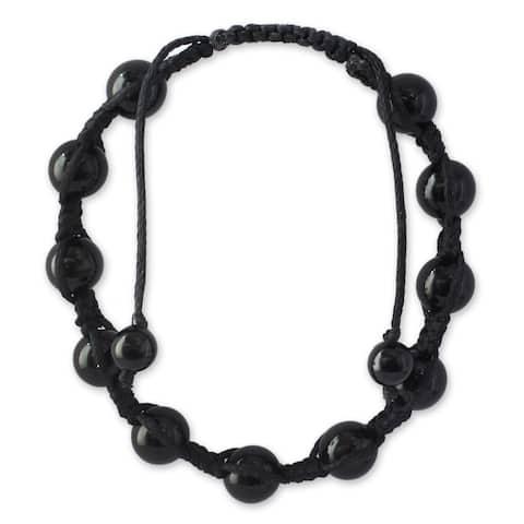 Handmade Oneness Onyx Beaded Macrame Bracelet (India)
