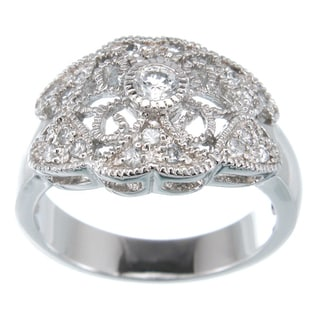 Plutus Platinum over Sterling Silver Cubic Zirconia Antique-style Ring