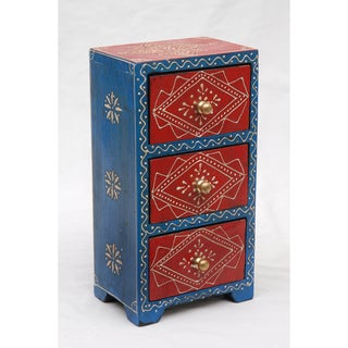 Blue and Red Mango Wood Almirah Chest (India)