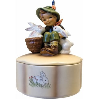 M I Hummel 'Playmates Covered Box' Porcelain Figurine