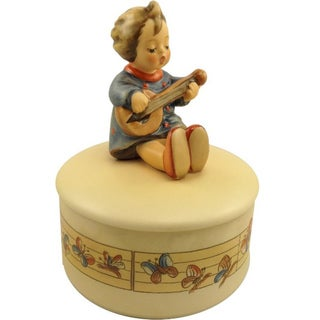 M I Hummel 'Joyful Covered Box' Porcelain Figurine Box