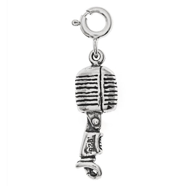 Sterling Silver Microphone Charm