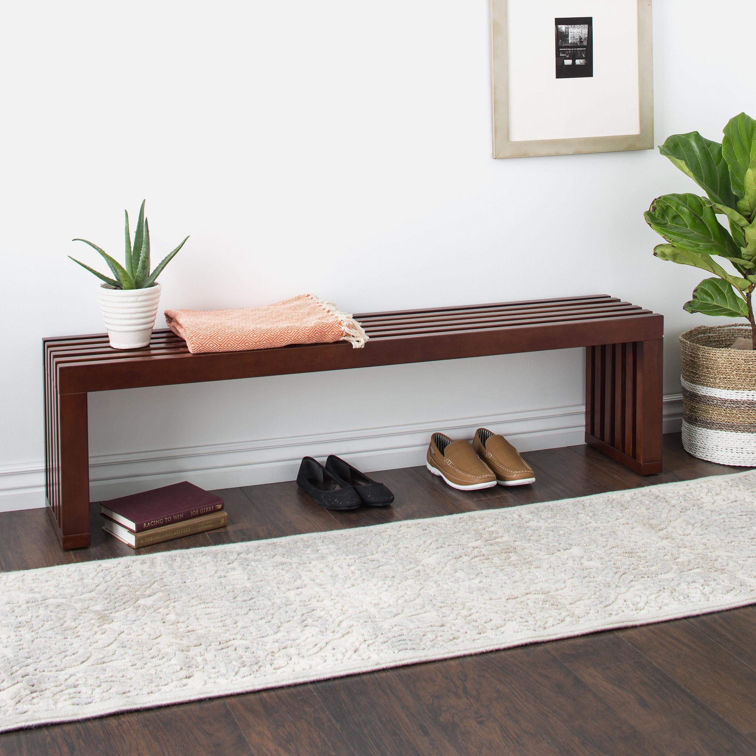 Walnut Finish 60-inch Slat Bench, Brown (MDF)