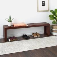 Strick & Bolton Walnut Finish 60-inch Slat Bench