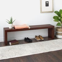 Clay Alder Home Walnut Finish 60-inch Slat Bench