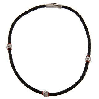 Braided Leather and Stainless Steel Bead Necklace
