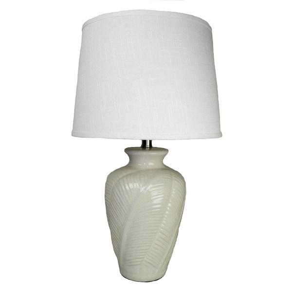 Off-white Leaf Embellished Ceramic Table Lamp