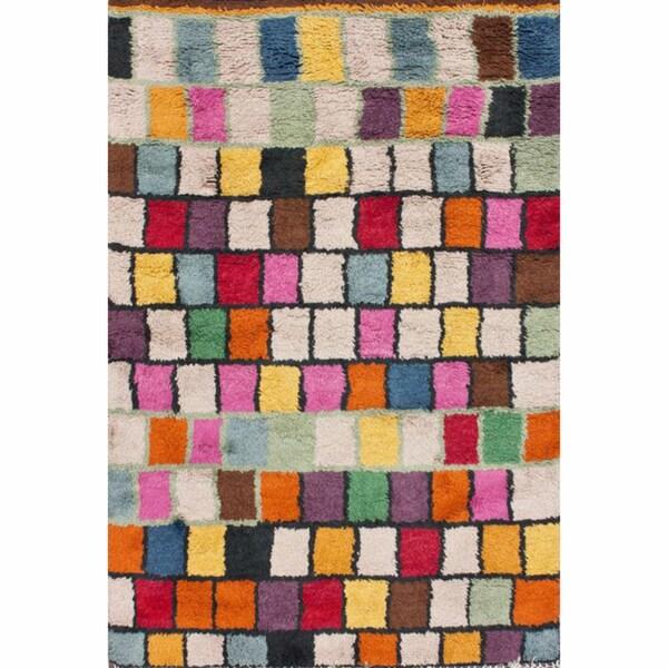 nuLOOM Hand-knotted Blocks Multi New Zealand Wool Rug