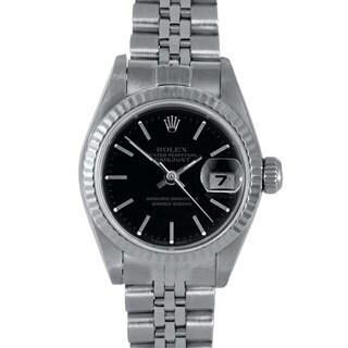 Pre-Owned Rolex Women's Black Dial Jubilee Stainless Steel Datejust Bracelet Watch