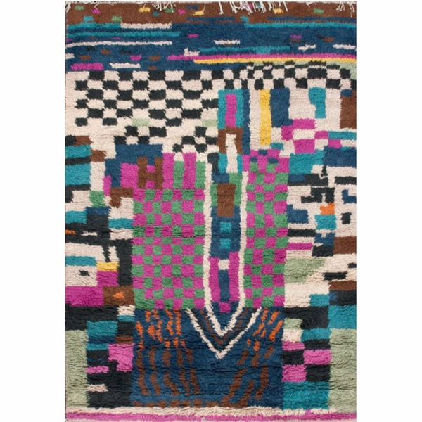 nuLOOM Hand-knotted Patchwork Multi New Zealand Wool Rug