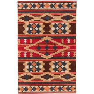 Dick Idol Hand-tufted Red/Brown Southwestern Aztec Perana Wool Rug
