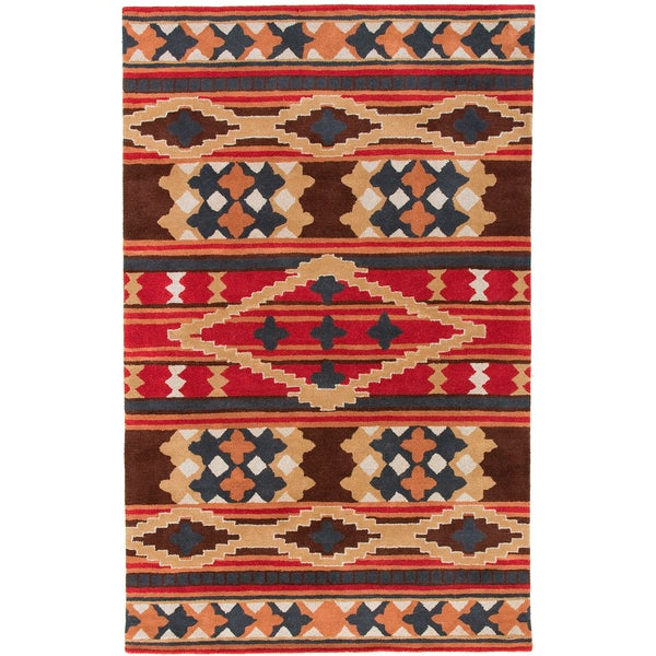Dick Idol Hand-tufted Red/Brown Southwestern Aztec Perana ...
