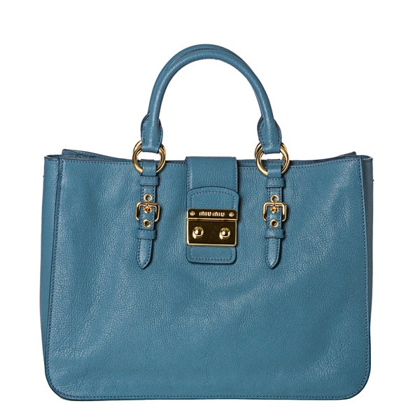 Miu Miu 'Madras' Sky Blue Leather Push-Lock Satchel Bag