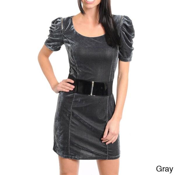 Stanzino Women's Puff Sleeve Velvet Dress