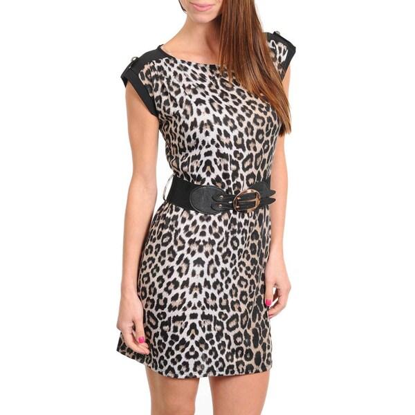 Stanzino Women's Belted Cheetah Print Dress