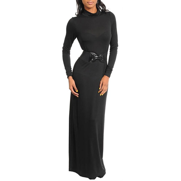 Stanzino Women's Black Belted Long Dress