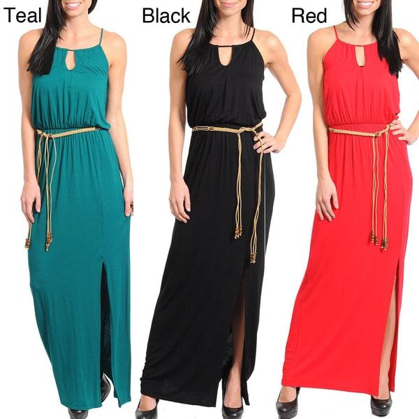 Stanzino Women's Sleeveless Braided Sash Dress