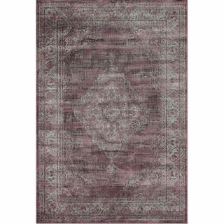 nuLOOM Vintage Overdyed Plum Faux Silk Rug