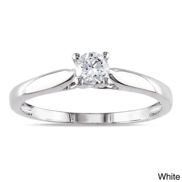 Miadora 14k White or Yellow Gold 1/4ct TDW Round Diamond Solitaire Ring