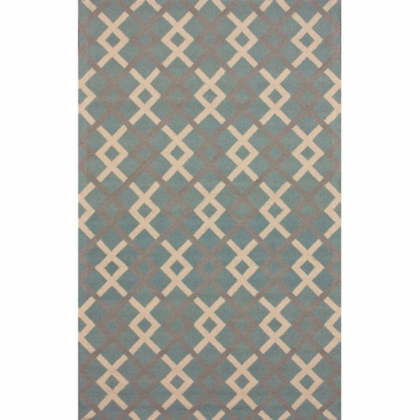 nuLOOM Handmade Trellis Light Blue Wool Rug