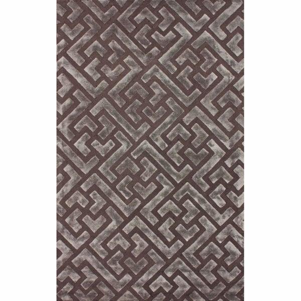 nuLOOM Handmade Maze Faux Silk / Wool Rug