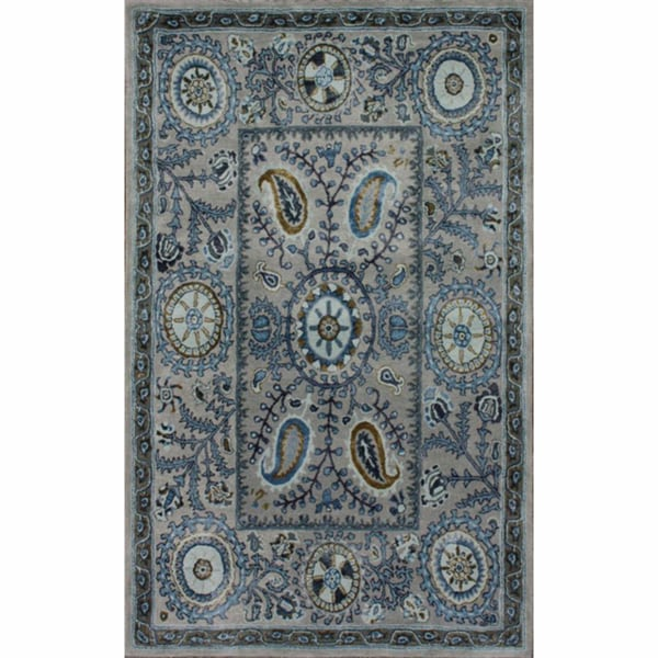 nuLOOM Handmade Paisley Suzanni Light Blue Wool Rug