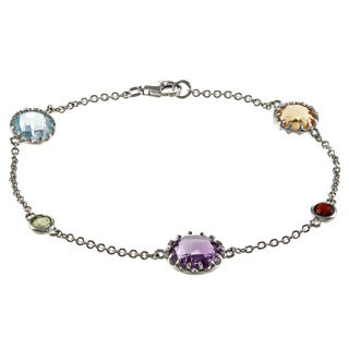 La Preciosa Sterling Silver Multi-gemstone 7.5-inch Bracelet