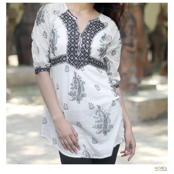 Cotton 'Mughal Glory' Beaded Blouse (India)