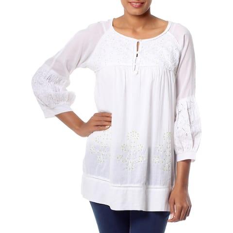 Handmade Cotton 'Romantic White' Beaded Blouse (India)